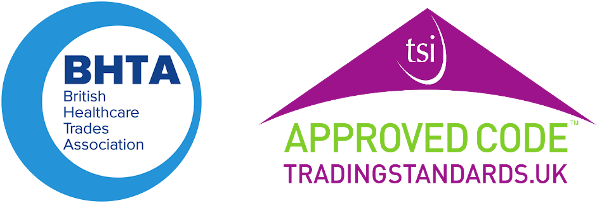 British Healthcare Trades Assocation and TSI Approved Code Trading Standards logos